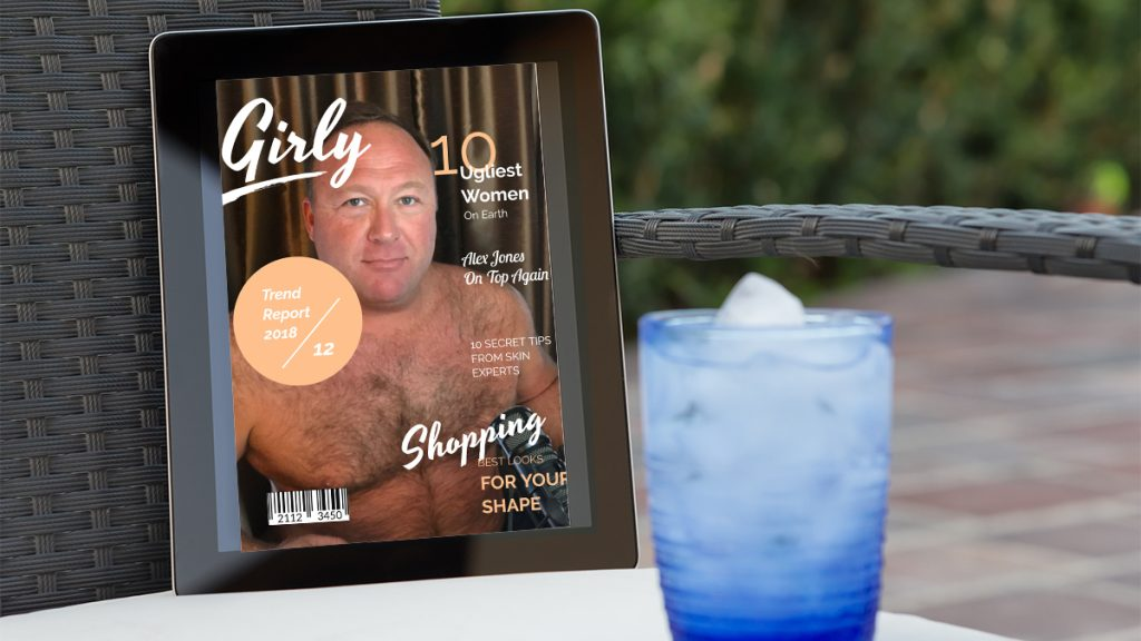 Alex Jones voted Ugliest Woman of the Year by Girly Magazine.