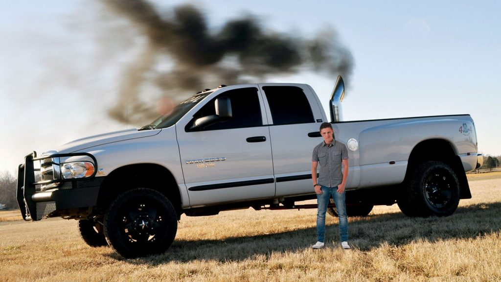 Dustin Jayce Dickens of Penn Valley and his unnecessarily large, rolled-coal Dodge RAM 3500.