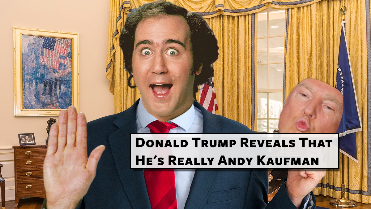 """President Donald Trump seen here moments after his unprecedented """"reveal."""""""