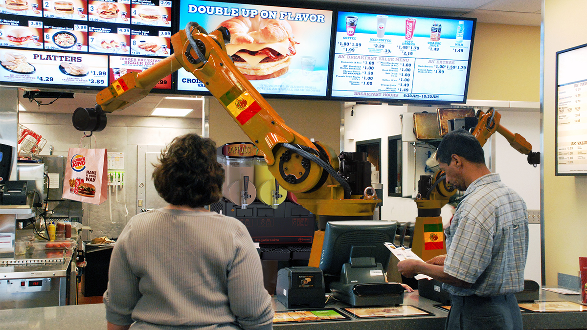 "A new Burger King restaurant being operated by two ""automated staff"" in Miami, FL."