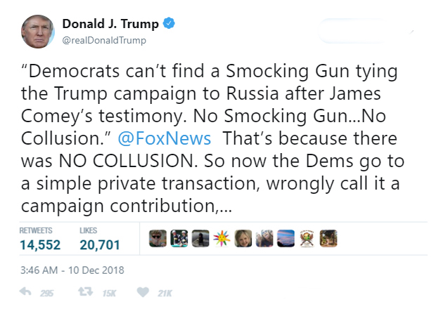 The original tweet from President Trump, dated December 10th, 2018.